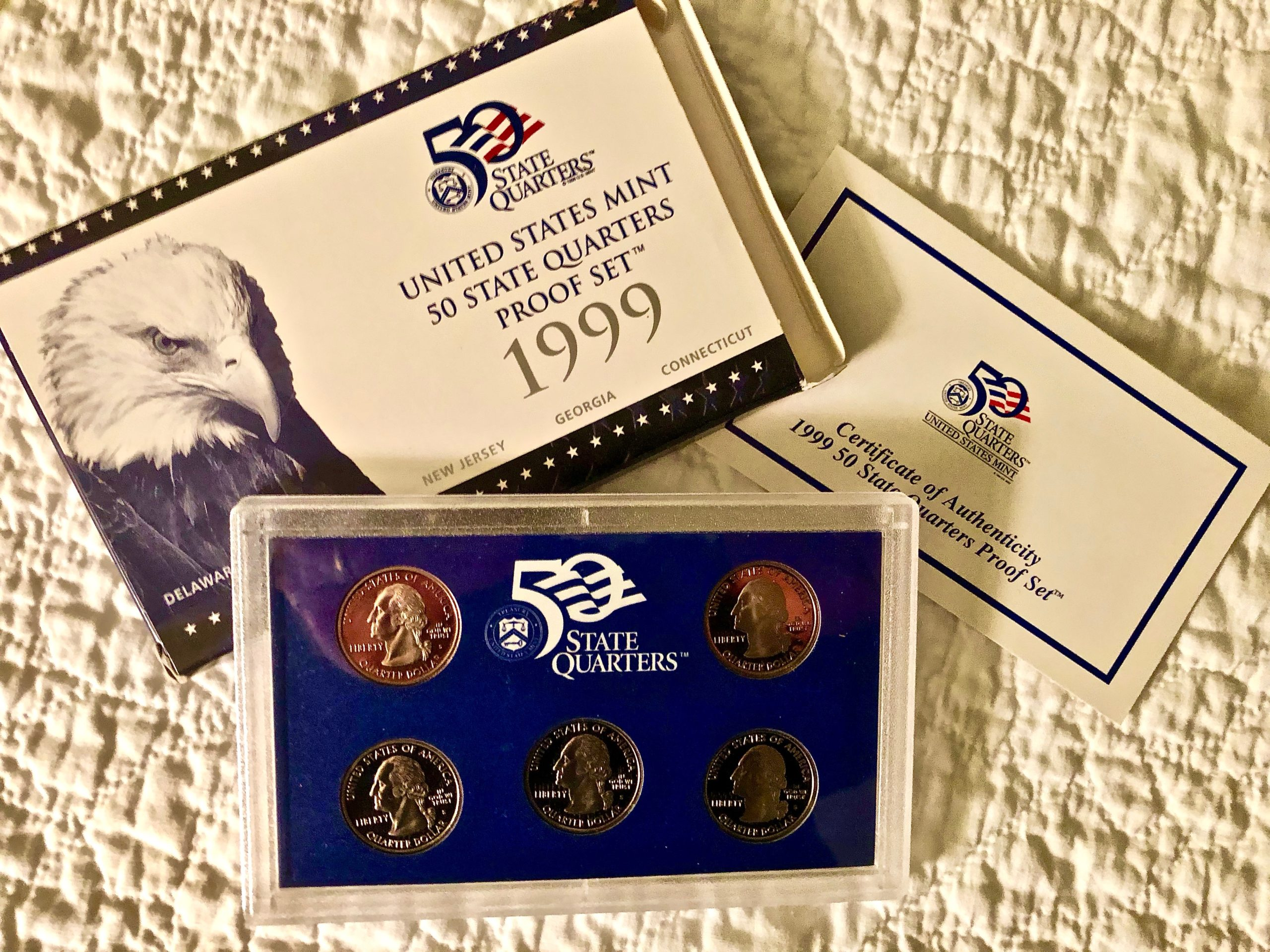 Item HG 18 - 1999 US Mint State Quarter PROOF Set of Five Quarters