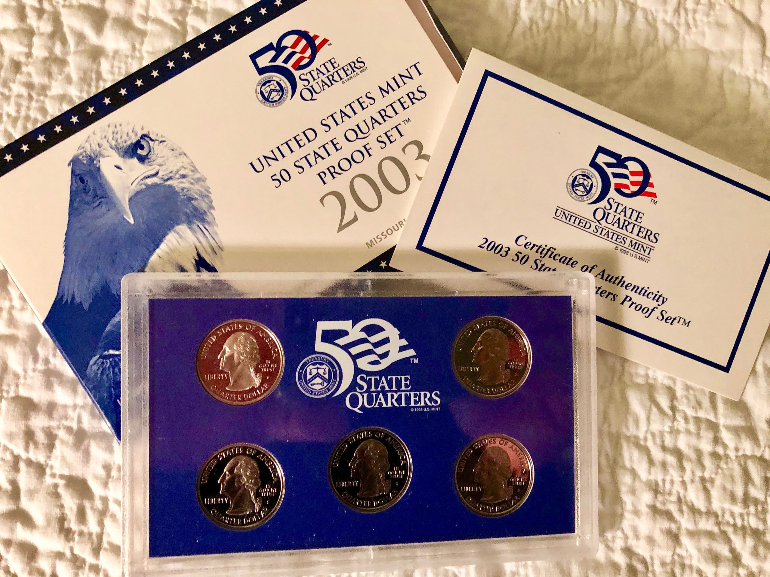 Item HG 19 - 2003 US Mint PROOF State Quarter Set of Five Quarters - Includes MISSOURI