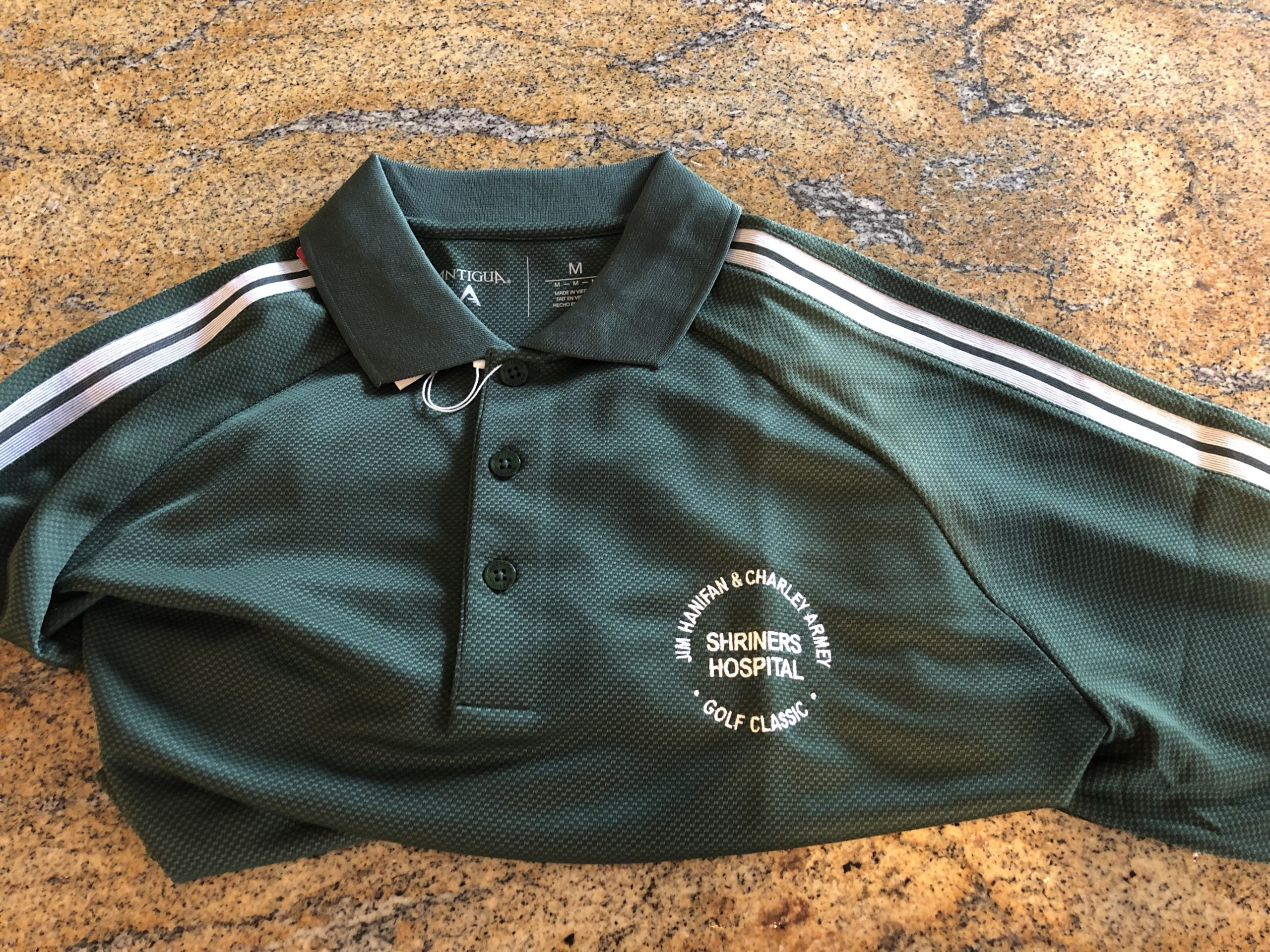 Item SH 5 - New Shriners Green Golf Shirt - Men's Medium