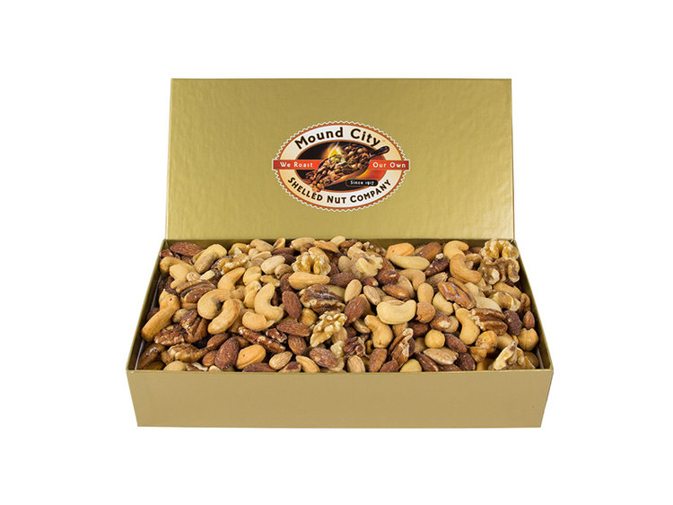 Item FD 6 - 2 lb Gold Deluxe Box of Mixed Nuts valued at $35