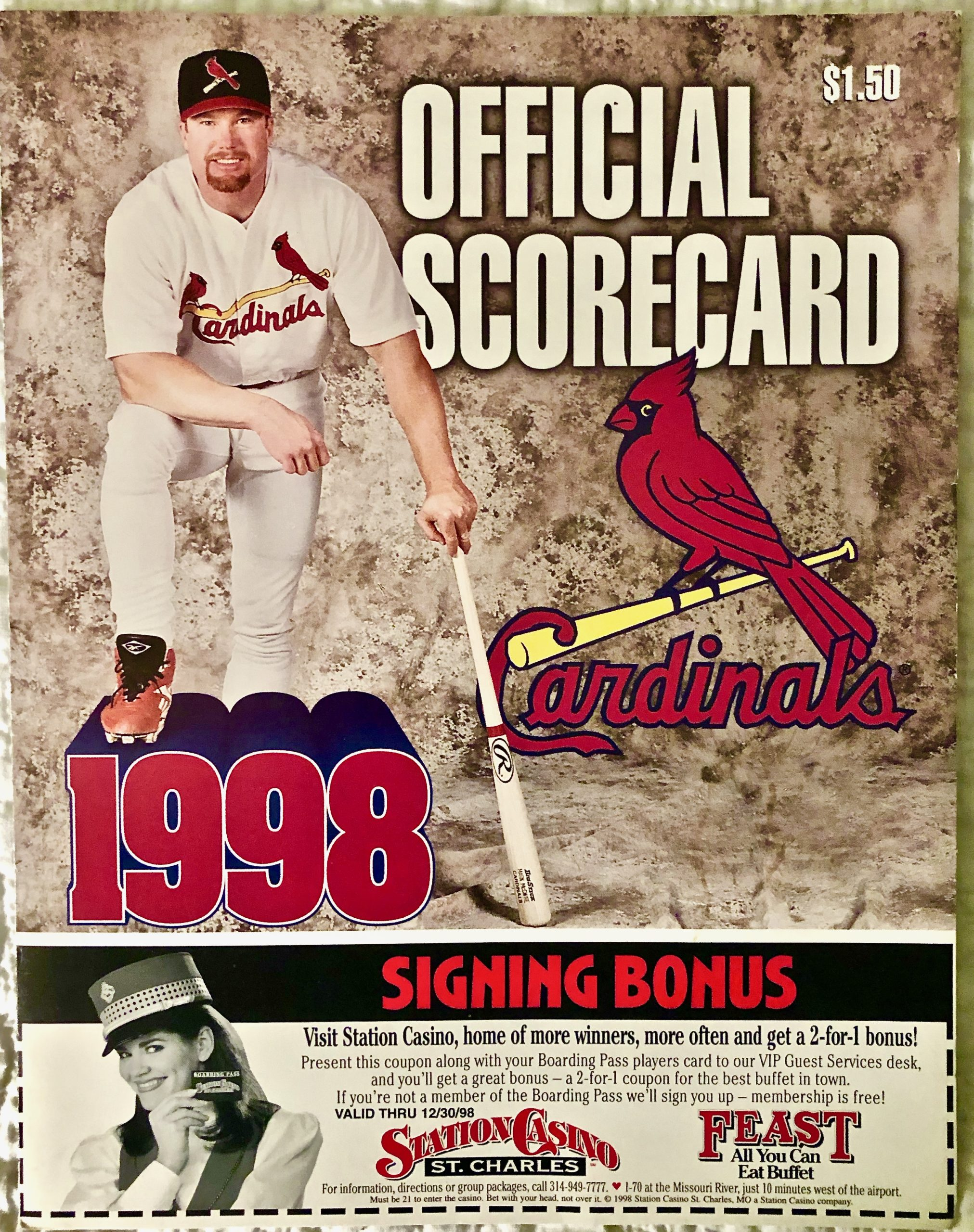 Item SM 20 - 1998 Cardinals Scorecard -- 21 Years - The Day Mark McGuire Broke the Record